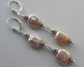 Coin Pearl Earrings Pink Coin Pearl Long Pearl Earrings Square Pink Peach Pearl Earrings Sterling Silver Pink Pearl Long Dangle Earrings