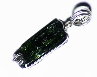Raw Chrome Diopside Pendant (4.8 ct) Wire Wrapped Diopside Jewelry, Chrome Diopside Necklace, Silver Chrome Diopside Pendant Gift For Her