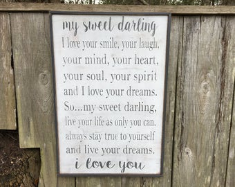 Sweet Darling, Fixer Upper Inspired Signs,24.5x16.5, Rustic Wood Signs, Farmhouse Signs, Wall Décor