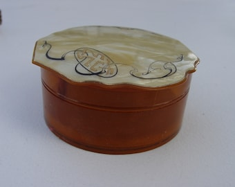Vintage Celluloid Dusting Powder Dresser Vanity Box with Lid Patricia