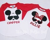 2 - Sibling Matching Disney Red Sleeve Baseball Tee - Brother Sister Mickey Minnie Youth Infant Toddler - Disney Family Shirts