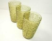 Set of 3 Anchor Hocking Soreno Avocado Green Highball Glasses Tumblers 12 Oz