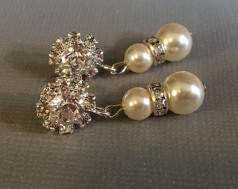 Pearl Earrings with a sparkling Rhinestone flower post available in many colors in Silver with Cream Ivory Blush White Swarovski pearls