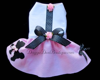 Dog Dress, Poodle Style Skirt Dress, Dog 50's Costume Pink, XXS, XS, Small or Medium