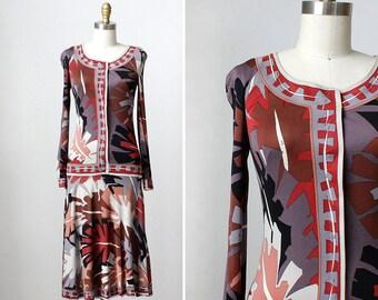 Pucci Dress XS/S • 70s Dress • Drop Waist Dress • Tropical Dress  • Silk Dress • Silk Jersey • Emilio Pucci • Made in Italy   D1143