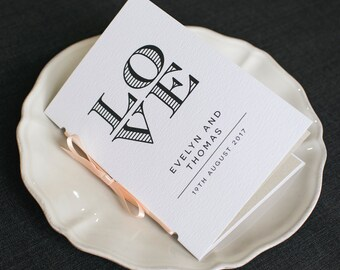 LOVE Wedding Program / 'Wedding Ceremony' Pocket-sized Order of Service Mass Booklet / Modern Minimalist Typography Program / ONE SAMPLE