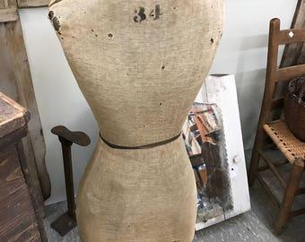 Antique Dress Form, Child's Vintage Dress Form on Stand, Vintage Mannequin, Vintage Department Store Display
