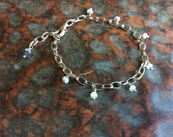 Aquamarine Gemstone Silver Chain Bracelet
