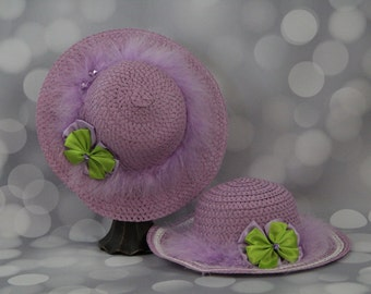 Tea Party Hats; Set of Two Lavender Easter Bonnets with Boa; Girls Sun Hats; Lavender Easter Hat; Sunday Dress Hat; Derby Hat; 16300