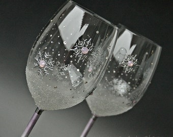 Snowflakes Glasses, Wine Glasses, Wedding Glasses, Christmas Glasses, Hand Painted, Set of 2