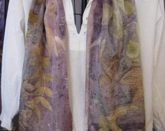 eco dyed charmeuse SILK scarf, overlaid with logwood 14 x 72