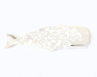 Lilla Vän 172 animal silhouette. Wooden whale decor. Painted whale silhouette. White on whitewash wood.