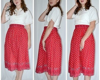 SALE Thru July Vintage 1980s Red French Provincial Paisley Print Skirt 32 Inch Waist Fabric Printed in France
