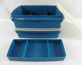 Vintage Tupperware Stow-N-Go Blue Craft Storage Boxes #767-13 With Insert & Seal