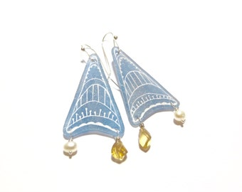 Blue triangle dangle earrings- citrine, pearl, and silver