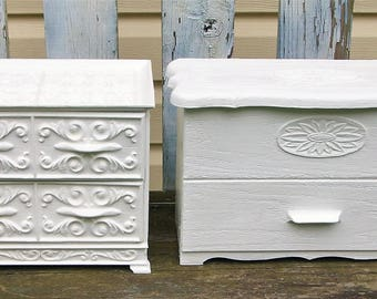 2 Vintage White Lerner Sewing Boxes Jewelry Boxes  Desk Office Storage