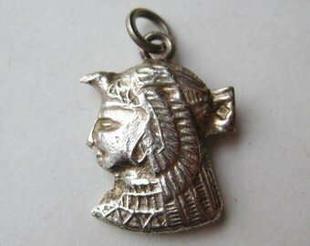 Vintage Egyptian God Sterling Silver Horus Cairo Egypt Valley of the Kings Necklace Pendant