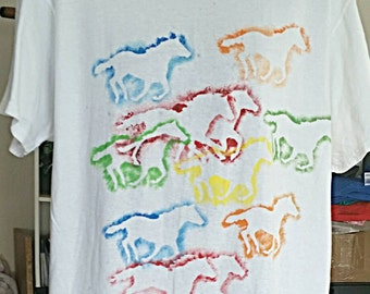 T-Shirt - Hand Painted with Running Horses XL