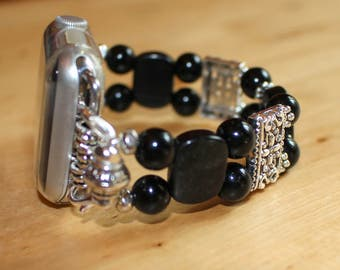The WatchMe Collection Watch band for Apple Watch, Watch Band, Watch Bracelet, Black Obsidian Watch Band Apple
