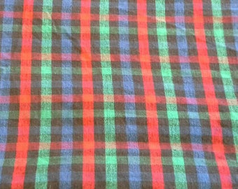 Multi ColoredPlaid Cotton Flannel Fabric, Blue, Red, Green, Black 2 Yards X0816