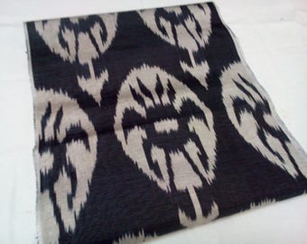 Uzbek traditional handwoven black silk ikat fabric by yard