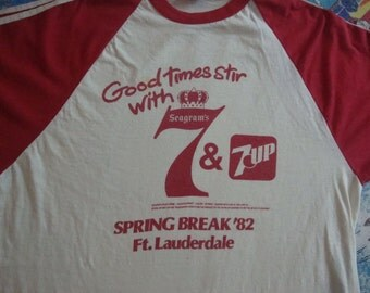 Vintage 80's Seagram's 7 & 7 Up  Gin Whisky Liquor 1982 Spring Break ft. Lauderdale Florida Party Rare T Shirt Adult Size M