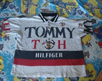TOMMY HILFIGER Vintage 90's Hip Hop Rap Huge logo Anchor Polo Button Shirt Men's Size XL
