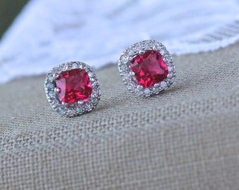 Red Crystal Stud Earrings, Ruby Crystal Bridal Earrings, Red Bridesmaids Stud Earrings, RIKKI  Red