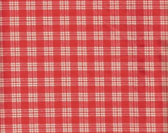 Vintage Red and Whit Checked Cotton Fabric  (2 yard)