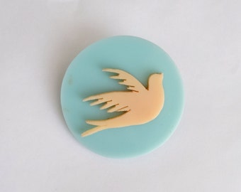 1930s Blue dove celluloid large brooch / 30s circular early plastic pin