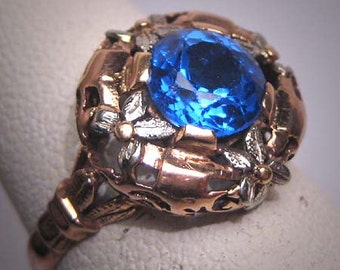 Antique Sapphire Ring Vintage Victorian Art Deco Rose Gold 18K 1920