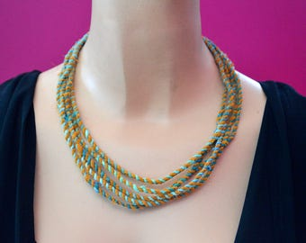 Turquoise and Gold Repurposed Fabric Multi Strand Statement Necklace