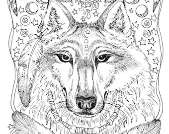instant download 5 pages animal spirits to color wolf raven crow eagle bear native american art - Native American Coloring Book
