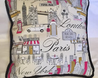 Country French Cottage Beige Paris New York London English Pillow.