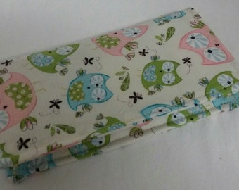 Adorable Owls Fabric Print Checkbook Cover Coupon Holder Clutch Purse Billfold Ready-Made