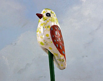Handmade ceramic garden bird, garden ornament small sculpture