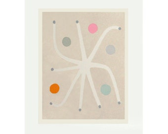 Fairy Seed, large original abstract screenprint, modern botanical, Scandinavian home by Emma Lawrenson.