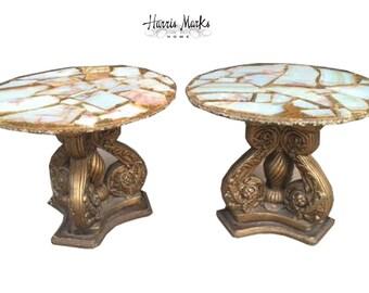 Arturo Pani Pair Tables Onyx Inlaid Hollywood Regency Glam Mexican Vintage Rare