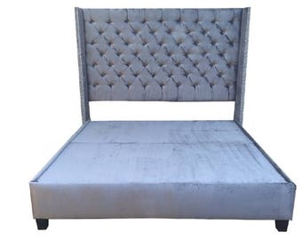 Nailhead headboard etsy - Extra tall bed frame queen ...