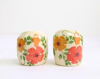 VINTAGE Floral Salt Pepper Shaker Set Ceramic
