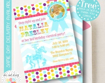 Carousel Birthday Invitation, Carousel Invitation, Carousel Party, Girl First Birthday, Girl Birthday, Carousel Invite, Carousel Baby Shower