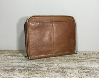 Leather Briefcases, Vintage Portfolio, Leather Attache Case, Zipper Leather Satchel