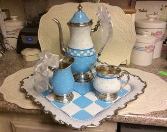 Vintage Silverplated Tea Set/Custom Painted