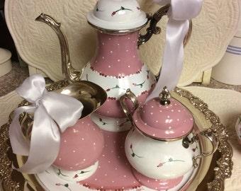 Vintage Silver Plated Tea Set/Custom Painted