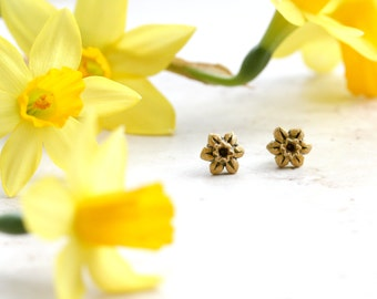 Daffodil Earrings, Yellow Flower Studs, Spring Post Earrings, Daffodil Jewelry, Daffodils, Springtime Jewellery, Easter Gift, Garden lover