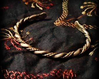 Twisted 14K GoldFill and Silver Wire Bracelet
