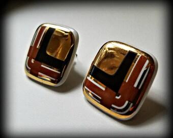 Golden Geometric Graphics Eighties Earrings