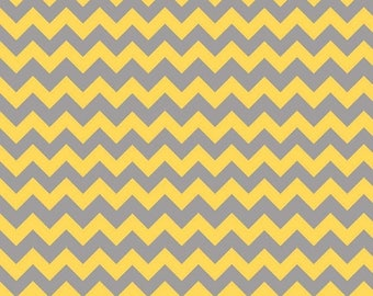 On Sale Riley Blake Fabric - 1 Yard of Small Chevron in Yellow/Gray