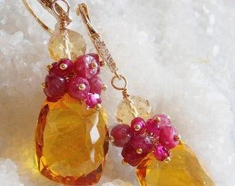 20% Off Mothers Day Sale Citrine and Ruby Gemstone Earrings Ruby Cluster Earrings Gift for Her Luxury Gemstone Earrings