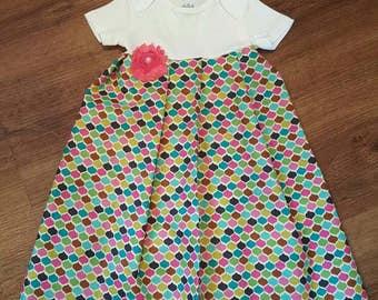 6-12 mo onesie dress - jewel print